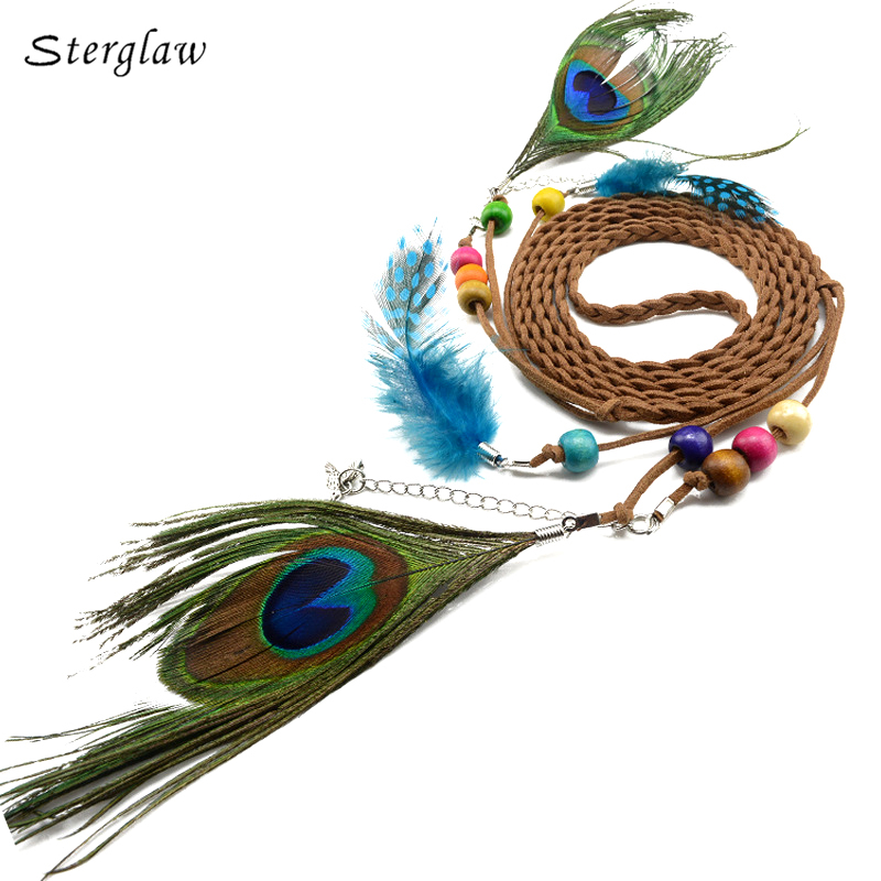 Ethnic vintage braided rope   belts   women with feather tassels 2018 show decorative thin casual female   belt   for fancy dresses J114