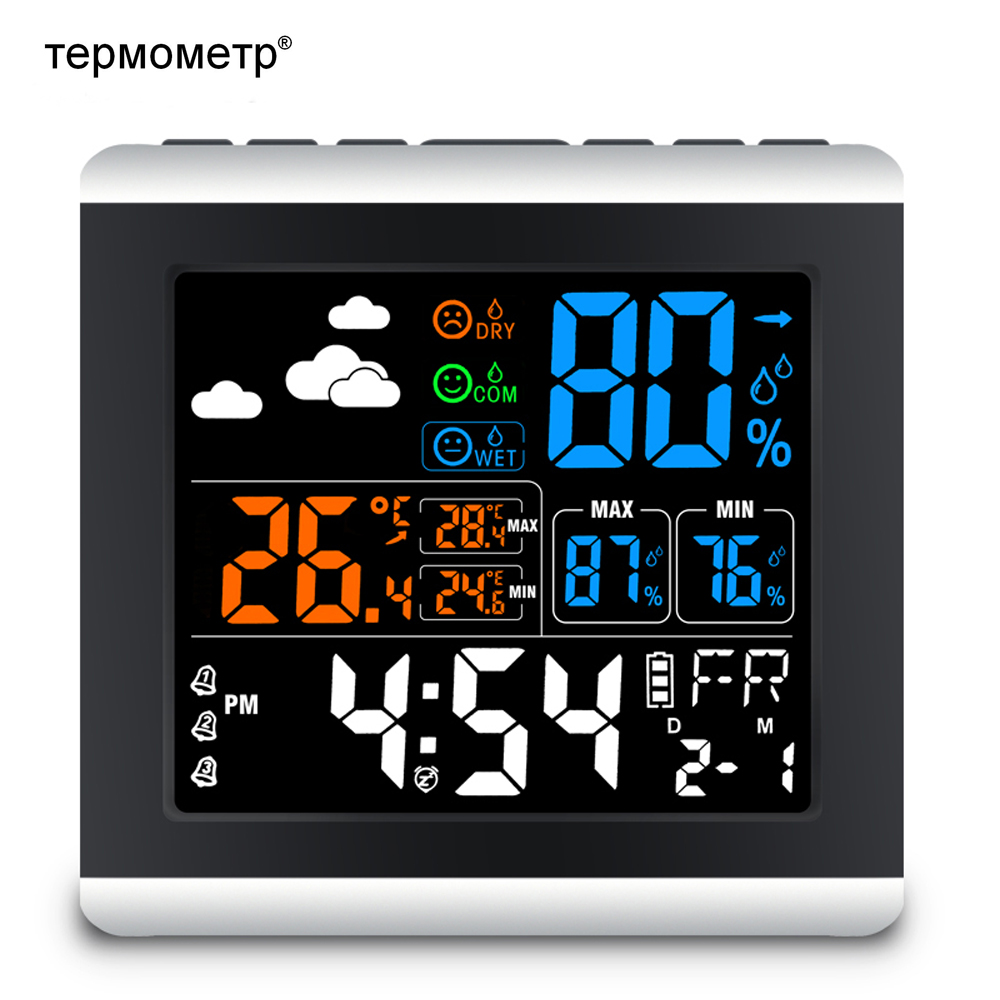 Numérique Station Météo Cadeau Coloré LCD Table Réveil Sans Fil Température Humidité Capteur Enregistreur Thermomètre Hygromètre