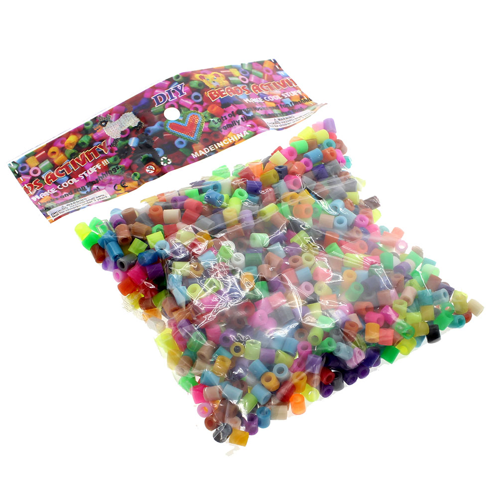 1000Pcs Mixed Color BEADS For GREAT KID FUN DIY   Educational Toy With 1pcs Plastic White Tweezers