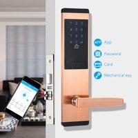 Приложение Wi Fi дверной замок Bluetooth, умный дом Keyless паролем Pin код, безопасности электронный замок двери красный бронзовый цвет