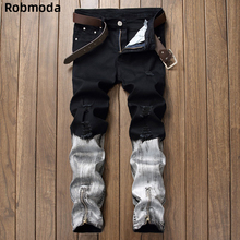 купить 2019 new arrival Jeans for men Straight Ripped Jeans Zipper Fly Denim Jean Fashion Designer Pants Black White Jean Male Trousers дешево