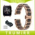 22mm Cerâmica & Stainless Steel Watch Band + Removedor de Ligação para asus zenwatch 1 2 homens wi500q wi501q butterfly buckle strap pulseira