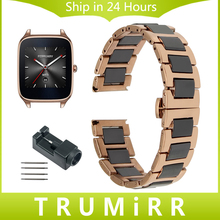 22mm De Cerámica y Acero Inoxidable Reloj Band + Removedor de Enlace para asus zenwatch 1 2 hombres wi500q wi501q butterfly correa de hebilla de pulsera