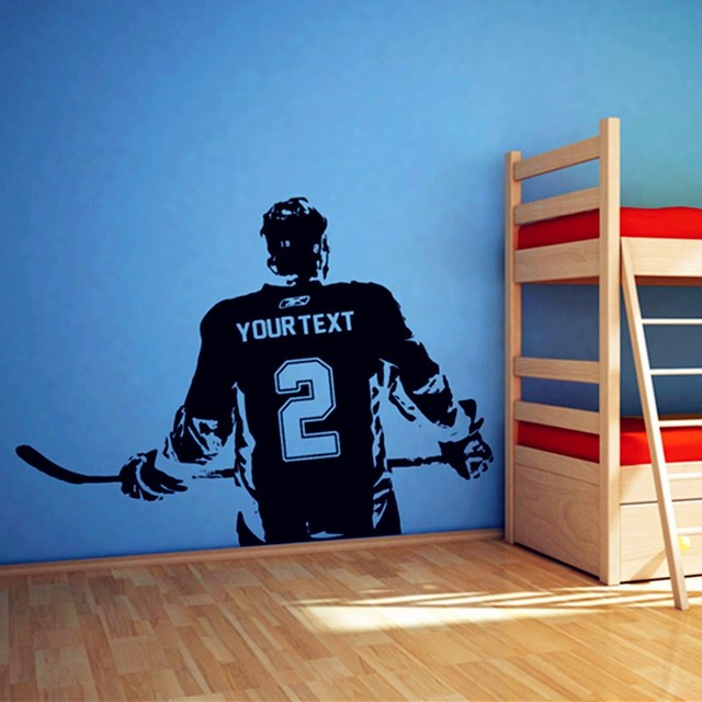 Personalized Free Shipping Hockey Player Vinyl Wall Decal Custom