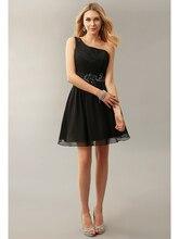 Elegant Black A-linie Kurz Chiffon Cocktail Kleider 2016 Ein-schulter Kurz Party Kleider Kristall Plissee Prom Kleider cd10294