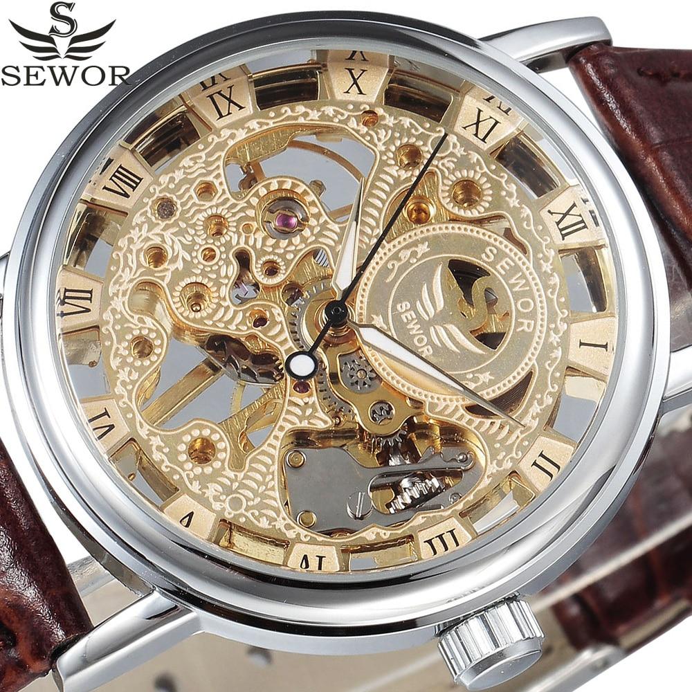 Gold Silver SEWOR Brand Men Transparent Watches Men Male Wristwatch Fashion Hand Wind Clock Leather Skeleton Mechanical Watch все цены