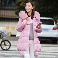 New Winter Women S Jacket Big Faux Fur Hooded Slim Long Coat Parkas Hairy Balls Thick