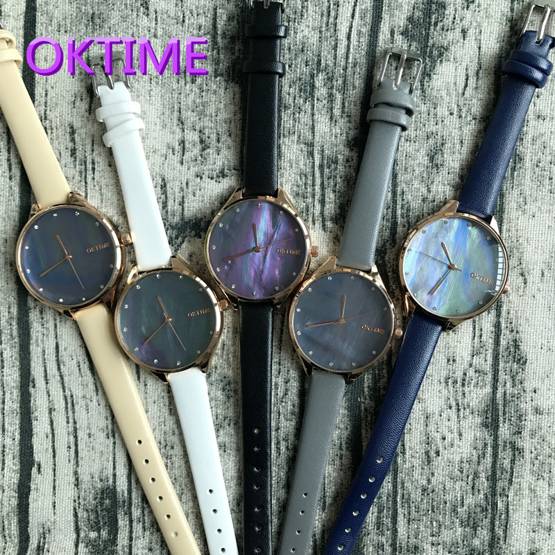 2017 New Arrival Ladies Shell Texture Watch New Trend Students Mother Of Pearl Dial Watch Quartz Watch Slim Leather Watch