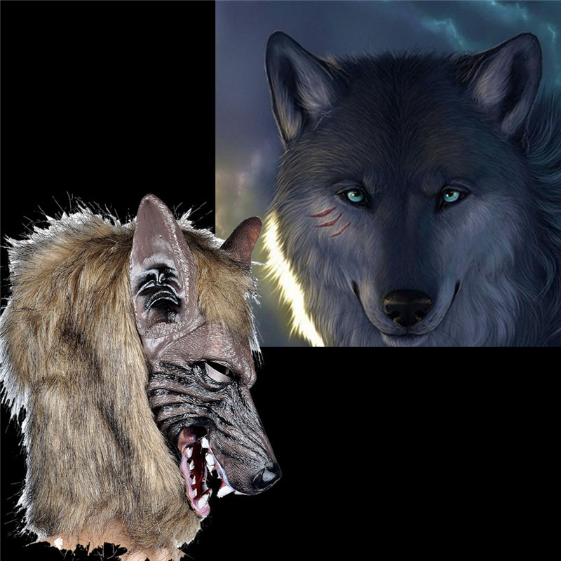 hd faux werewolf mask wolfman masks latex costume prop halloween novelty wolf maroon in party masks from home garden on aliexpresscom alibaba group