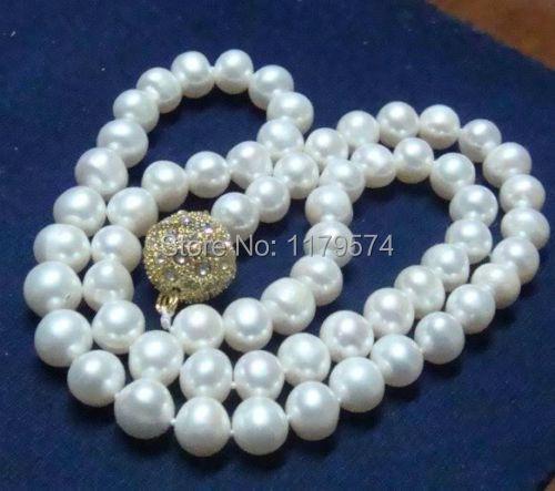 Mujer jewerly envío libre del estilo Clásico de la moda Caliente de la nueva manera Con Encanto 8-9mm Blanco Akoya Collar de Perlas Cultivadas 18 ''W0175