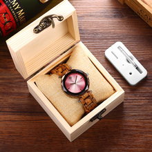 SIHAIXIN Newest Bamboo Wood Watch Women With Gem Glass Luxury All Wooden Band Quartz 2018 Fashion