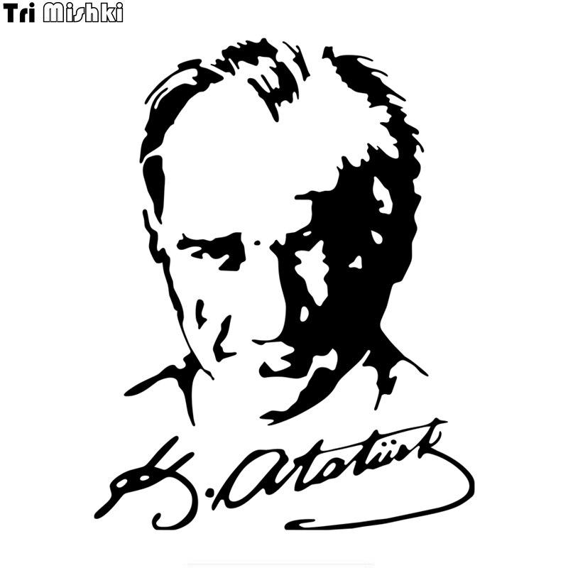 Tri Mishki 19.4*15cm Car Sticker Mustafa Kemal Ataturk Signature Turkey Vinyl Decals Accessories Sticker Araba Aksesuar HZX062