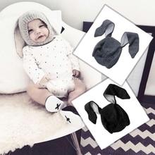 Kaninchen Ohren Baby Mütze Männer Frauen Herbst Winter Säuglings Kinder Wolle Stricken Hut Form
