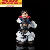 Statue Justice League Q version Bust Batman And Superman Head Portrait PVC Action Figure Collectible Model Toy 10CM BOX D843