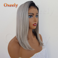 Oxeely Ombre Grey Synthetic Lace front Wigs Free Parting Short BOB Cut Dark Root Straight Lace Wig Baby Hair Heat Resistant