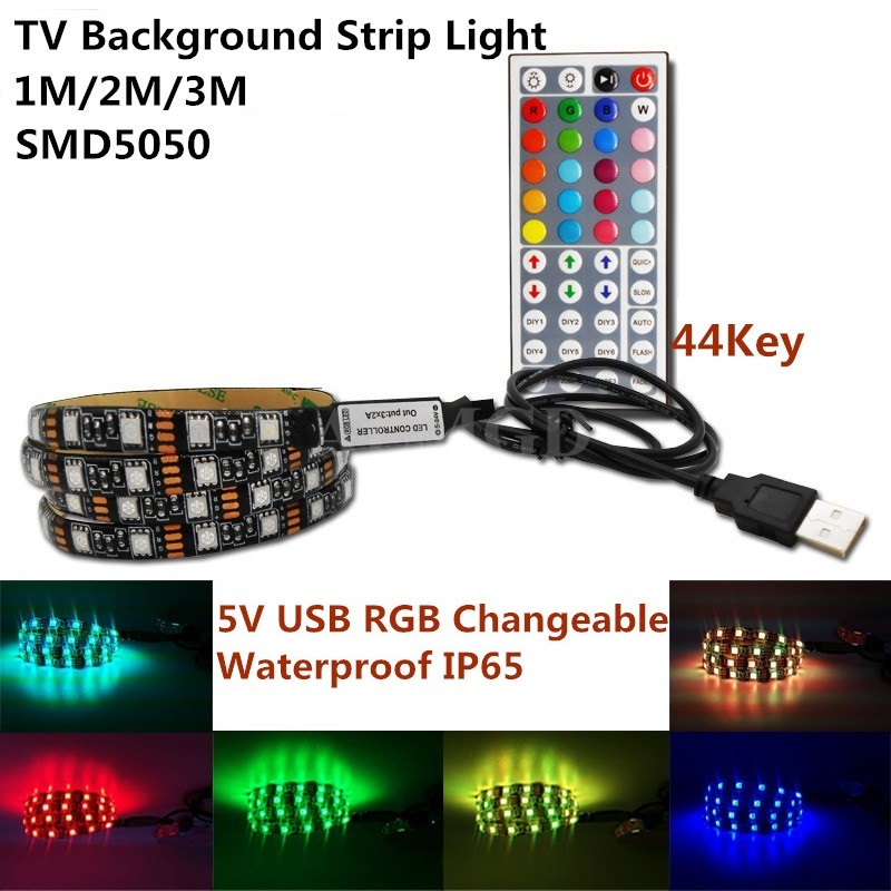 DC5V 1M 2M 3M USB LED Strip TV Background Lamp 5050 RGB Flexible Light Adhesive Tape Waterproof with 44 Key Remote Controller