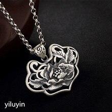 KJJEAXCMY S990 cut-out lace открыть богатых и чистого серебра тайские серебряные Античная свитер кулон
