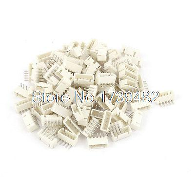 цена на 100pcs 2.54mm Pitch Right Angle 5 Pins XH Header Socket Male JST Connector