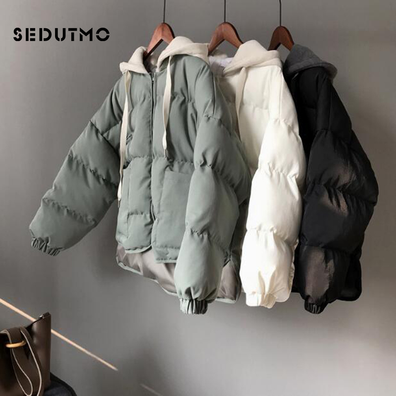 SEDUTMO Winter Hoodie Parka Women Oversize Cotton Padded Coat Warm Short Jacket  Female Streetwear Thick Casual Outwear ED484