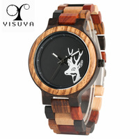 YISUYA Creative Elk Deer Head Dial Natural Wooden Men's Watches Mixed Colorful Wood Band Casual Watch Man Clock Gift 2018 New