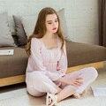 Envío Gratis Princesa de la Mujer Blanca Y Pantalones de Pijama de Color Rosa Decoración Del Cordón Del Conjunto ropa de Dormir En Casa Paño Pijamas Femininos Verao