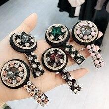 Handmade Crystal Circle Hair Accessories  For Girls Pearl Diamond Bows Rim Hairpin Clips Barrette