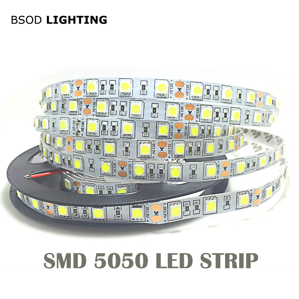 1M 5M 5050 LED Strip Light 60LED/Meter Input 12V Safe Tape BSOD DIY White Red Blue Green RGBWW Pink Flexible Led Line 3M Sticker