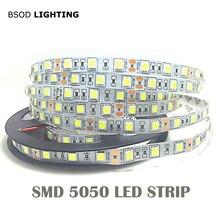 1 м 5 м 5050 Светодиодная лента светильник 60 светодиодный/метр вход 12 В безопасная лента BSOD DIY белый красный синий зеленый RGBWW розовый гибкий светодиодный 3M стикер
