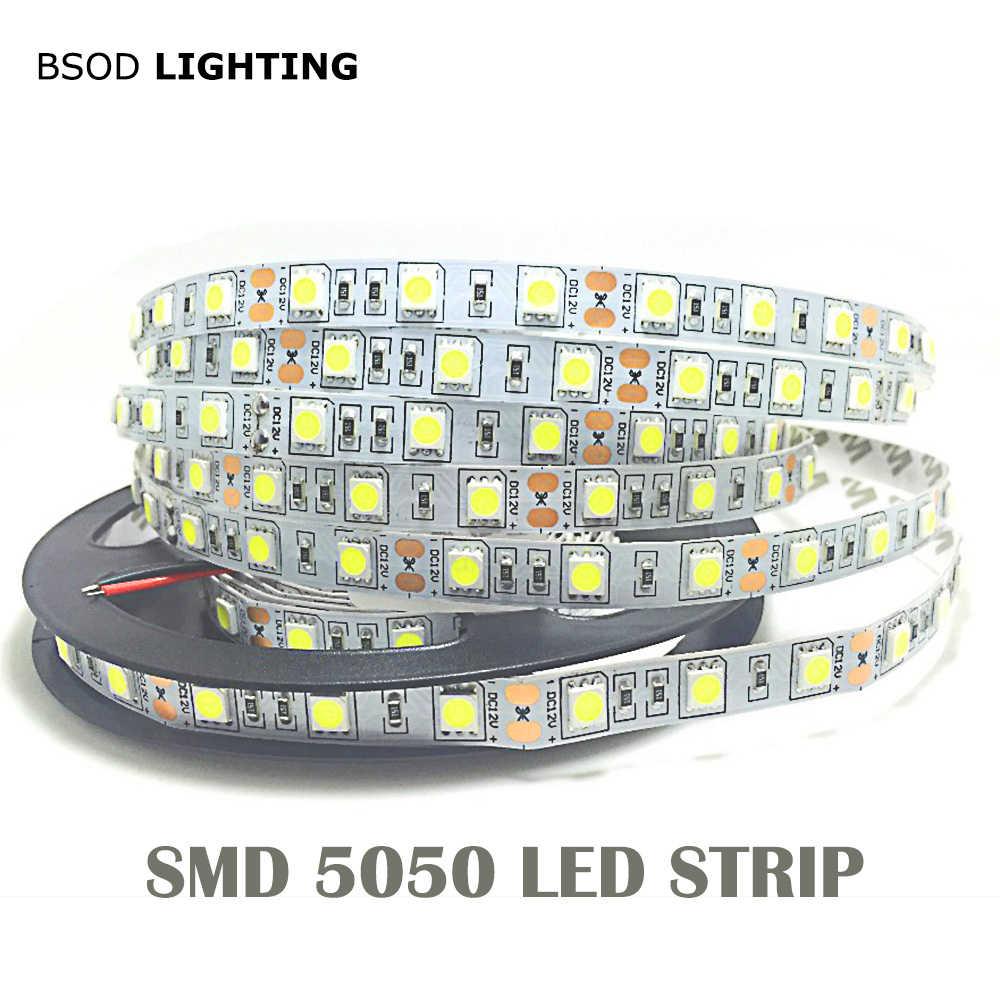 1M 5M 5050 taśmy LED światła 60 LED/metr wejście 12V bezpieczne taśmy BSOD DIY biały czerwony niebieski zielony RGBWW różowy elastyczna linia ledowa 3M naklejki
