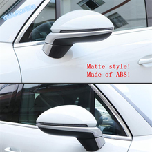 Lapetus Car Styling Door Rearview Mirror Strip Cover Trim ABS For Porsche Cayenne 2018 2019 Matte / Bright Carbon Fiber Style