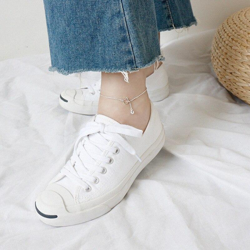 2019 925 sterling silver ankle bracelet femme tornozeleira pulsera joyas, cute cat bell anklets for women girls gift jewelry