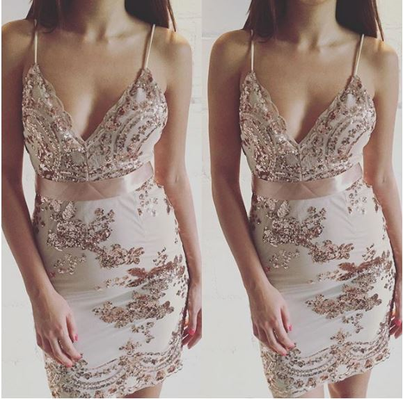 Buy Cheap Starlist woman shinny Deep V-Neck Spaghetti Strap Sequined Beading Embroidery Gold Dress Party Sexy Night Club Mini Dress summer