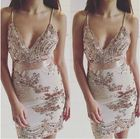 Save 2.43 on Starlist woman shinny Deep V-Neck Spaghetti Strap Sequined Beading Embroidery Gold Dress Party Sexy Night Club Mini Dress summer