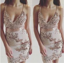 Starlist woman shinny Deep V-Neck Spaghetti Strap Sequined Beading Embroidery Gold Dress Party Sexy Night Club Mini Dress summer