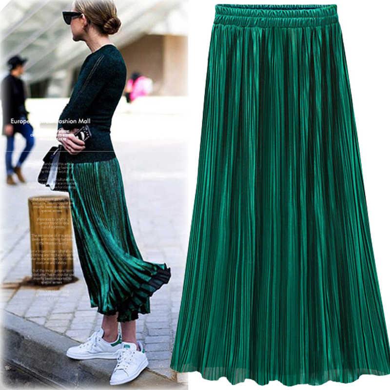 Falda plisada de oro plateado para mujer Vintage falda de cintura alta 2018  invierno faldas largas 820ab13f6334