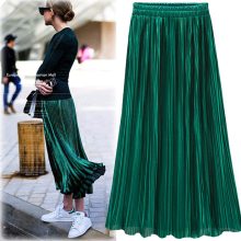 Silver Gold Pleated Skirt Womens Vintage High Waist Skirt 2016 Winter Long Warm Skirts New Fashion Metallic Skirt Female