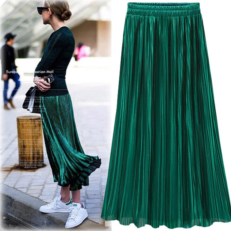 Silver Gold Pleated Skirt Womens Vintage High Waist Skirt 2018 Winter Long Warm Skirts New Fashion Metallic Skirt Female