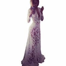 Women Summer Lace Floral Deep V Neck Cocktail Party Ball Gown Long Dress