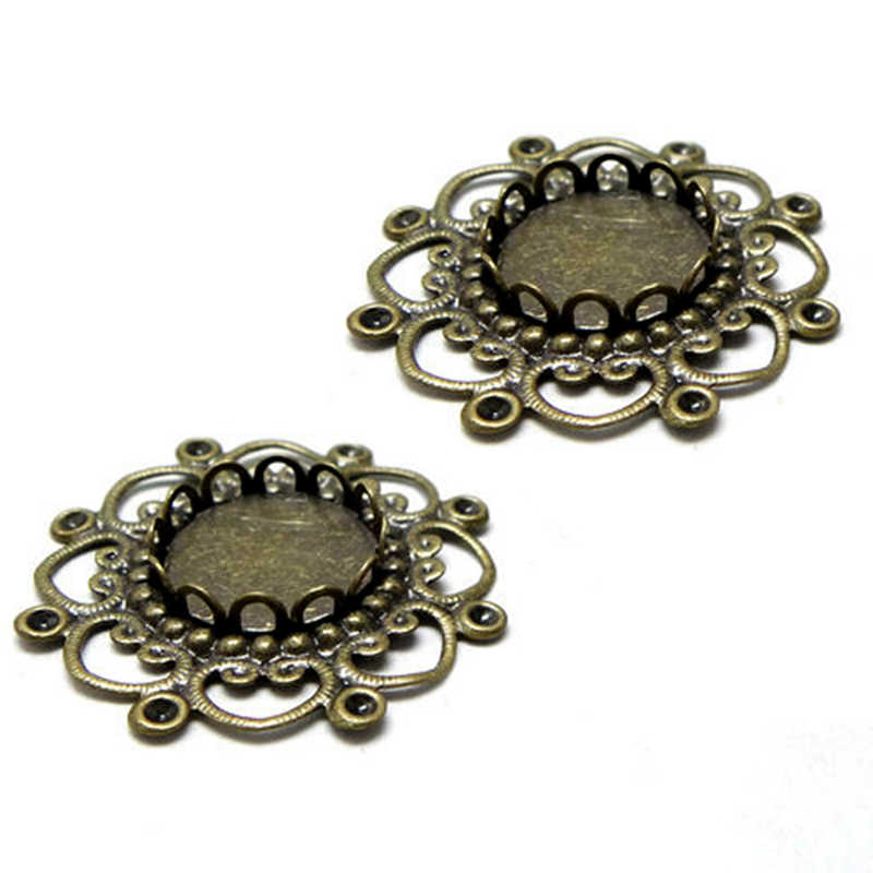 10pcs 12mm Lotus Flower Antique Bronze Pendants Setting Cabochon Cameo Base Tray Bezel Blank DIY Jewelry Findings