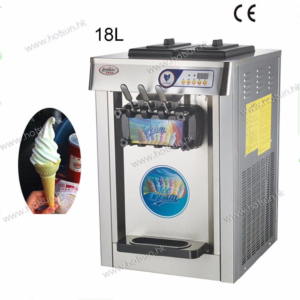 18L Stainless Steel Countertop 220V Electric 3 Flavor Frozen Yogurt Soft Ice Cream Maker Machine