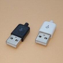 цена на 10PCS Diy USB Male Connector 2.0 Plug 4 Pin Type A Components White Black Plastic Cover