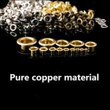 цена на 100 Pcs / Lot  Brass Metric Eyelet Rivets Thread Through Nuts Hollow Hole Grommets Fasteners Hardware Accessories 2#3#4#
