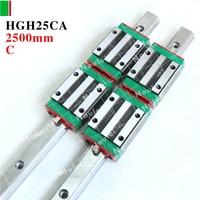 Cnc Parts HIWIN Linear Motion Guide 25mm Rail 2500mm HGR25 2 Pcs HGH25CA Slide Block HGH25