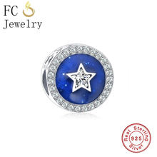 FC Jewelry Fit Original Pandora Charm Bracelet 100% Authentic S925 Sterling Silver Blue Star Night Sky Enamel Crystal Charm Bead(China)