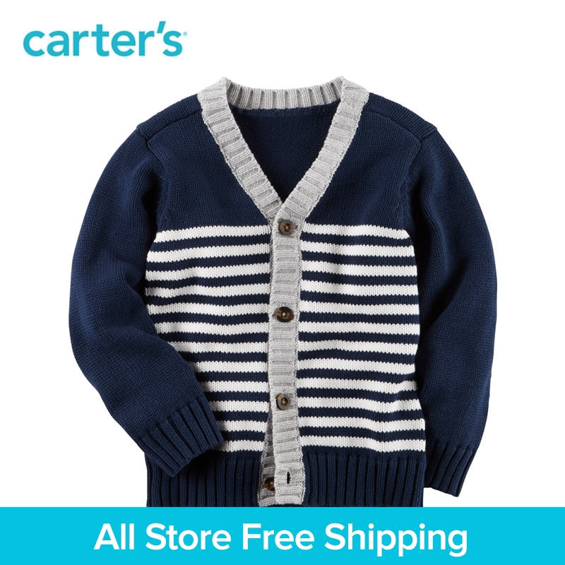 1pcs Striped Button-Front cotton sweater Cardigan Carter's Toddler boy spring fall clothing 243G870 button front frilled detail top