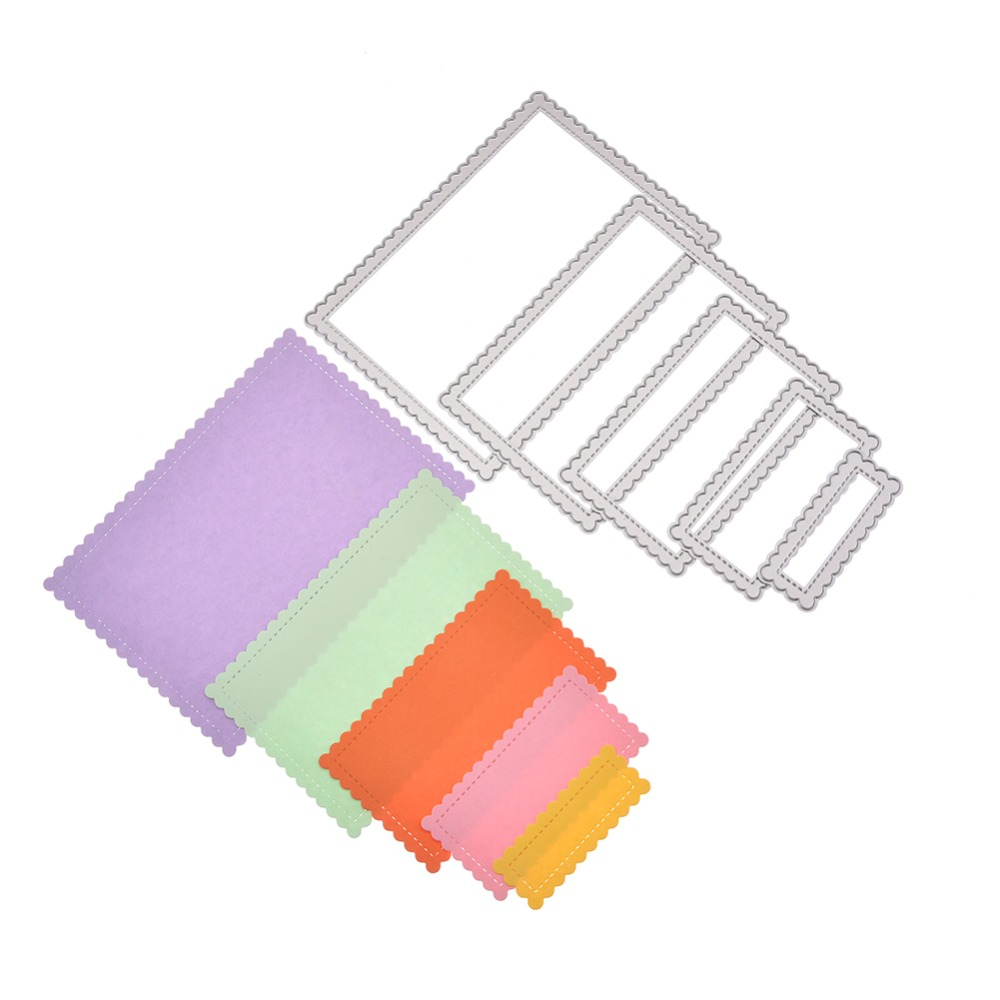 5pcs//Set Laced Rectangle Frames Metal Cutting Dies for Scrapbooking Cutting Dies