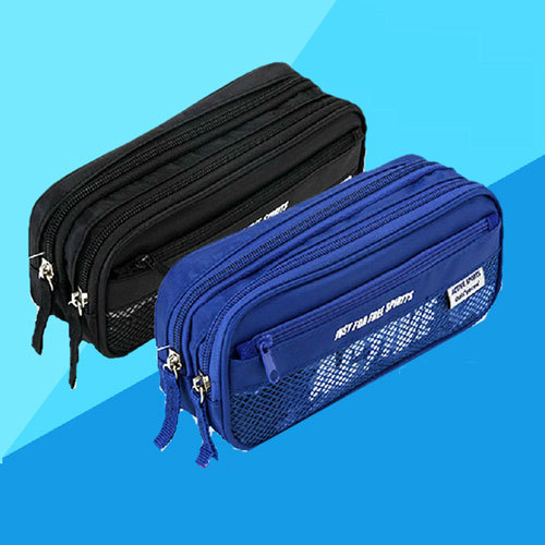 Hot Korea Larger Capacity Multifunctional Canvas Pencil Cases Double Zipper Pen Bags Box For Boys Girls School Stationery Pouch noverty large capacity multifunctional canvas pencil cases boys girls stationery bags for school supplies material escolar 04803