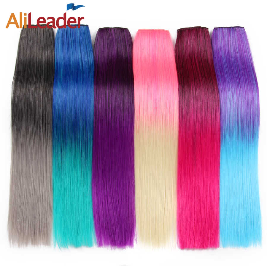 Alileader 56Cm 5 Clip In Hair Extension Heat Resistant Fake Hairpieces Long 22 Inch Straight Synthetic Full Head Colorful Hair