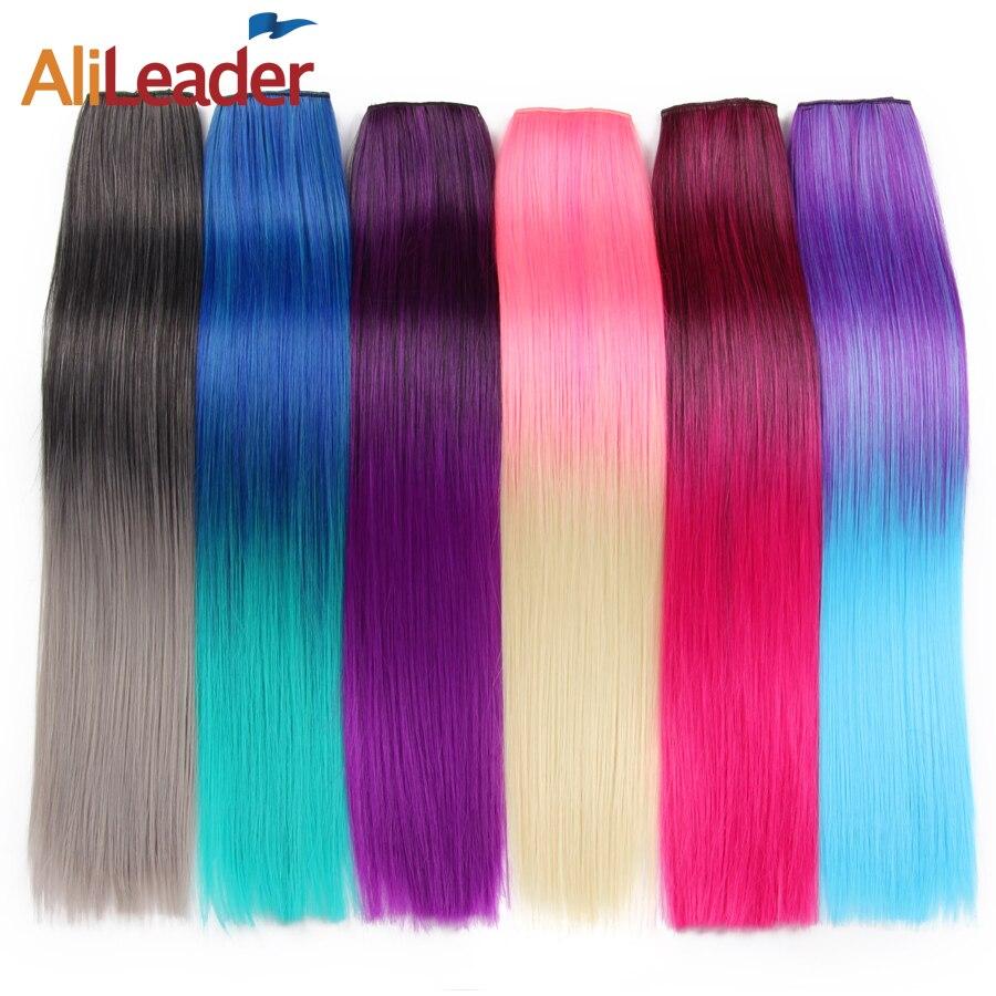 """Alileader 56 ס""""מ 5 קליפ בהארכת שיער עמיד בחום Hairpieces הארוך מזויף 22 Inch ישר סינטטי מלא הראש צבעוני שיער"""