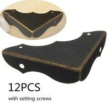 12 шт. декоративные антикварные латунные ювелирные изделия вина Подарочная коробка деревянные защитные уголки